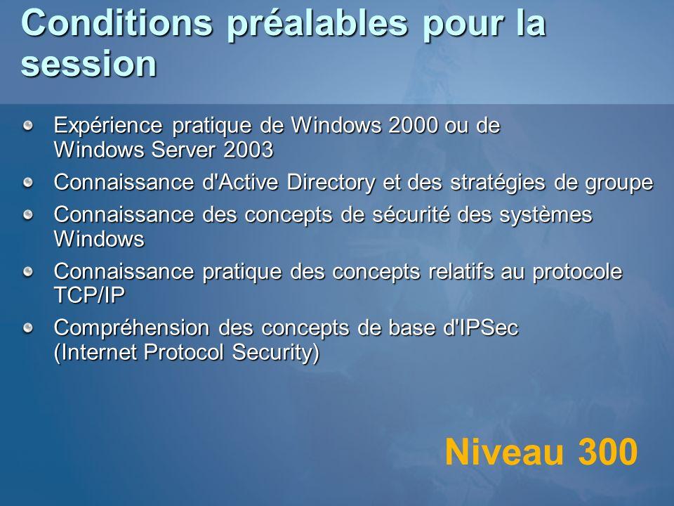 Conditions préalables pour la session Expérience pratique de Windows 2000 ou de Windows Server 2003 Connaissance d'Active Directory et des stratégies