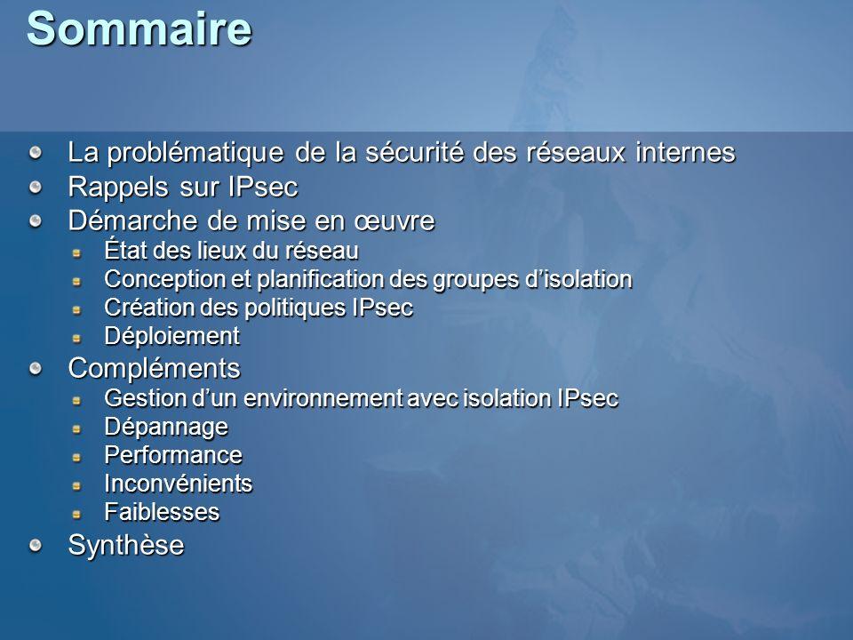Sommaire La problématique de la sécurité des réseaux internes Rappels sur IPsec Démarche de mise en œuvre État des lieux du réseau Conception et plani