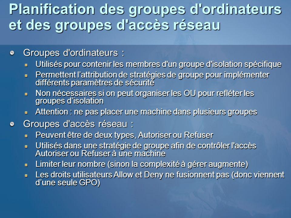 Planification des groupes d'ordinateurs et des groupes d'accès réseau Groupes d'ordinateurs : Utilisés pour contenir les membres d'un groupe d'isolati