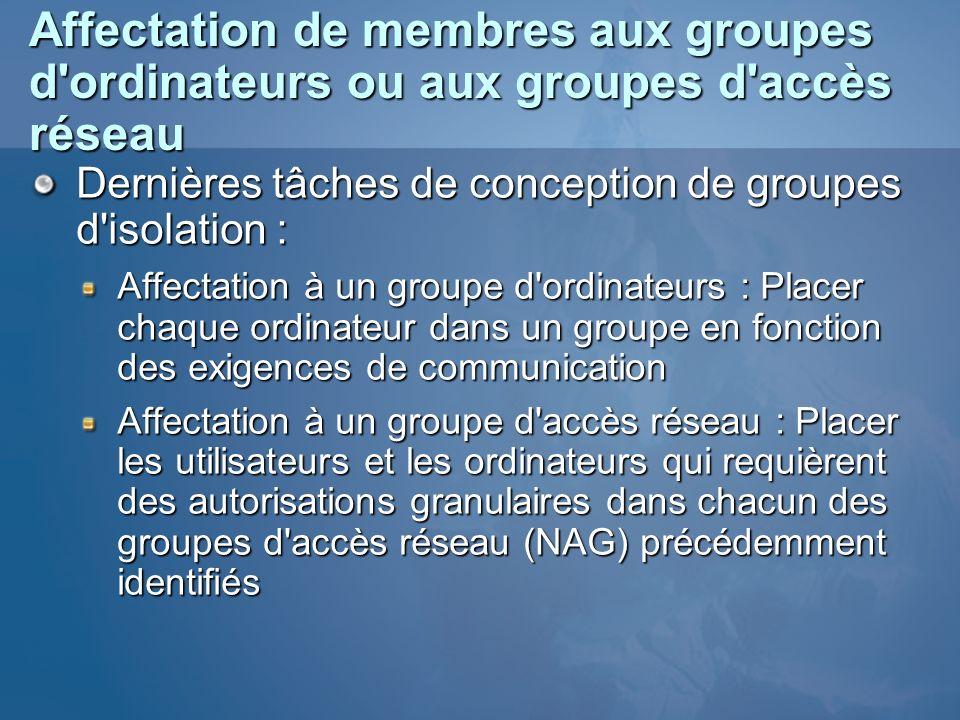 Affectation de membres aux groupes d'ordinateurs ou aux groupes d'accès réseau Dernières tâches de conception de groupes d'isolation : Affectation à u