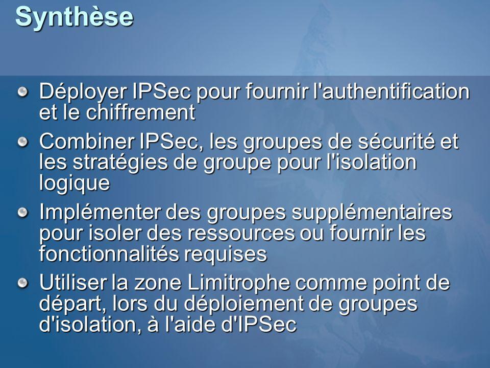 Synthèse Déployer IPSec pour fournir l'authentification et le chiffrement Combiner IPSec, les groupes de sécurité et les stratégies de groupe pour l'i