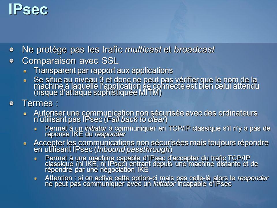 IPsec Ne protège pas les trafic multicast et broadcast Comparaison avec SSL Transparent par rapport aux applications Se situe au niveau 3 et donc ne p