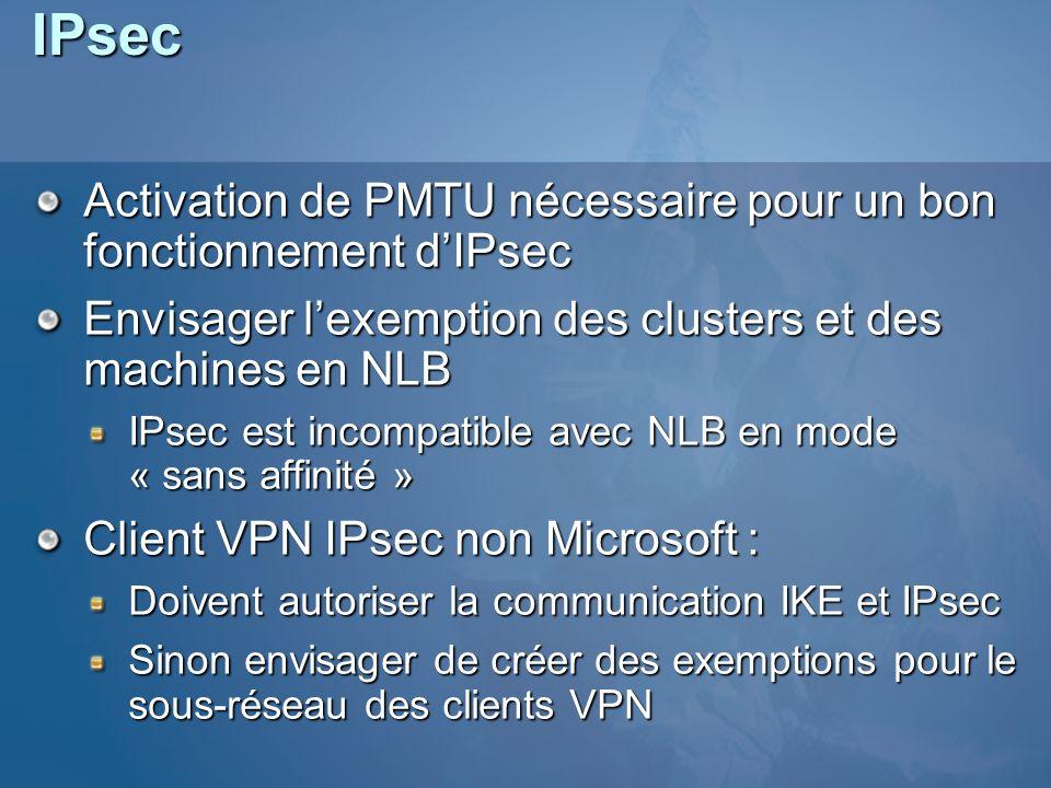 IPsec Activation de PMTU nécessaire pour un bon fonctionnement dIPsec Envisager lexemption des clusters et des machines en NLB IPsec est incompatible
