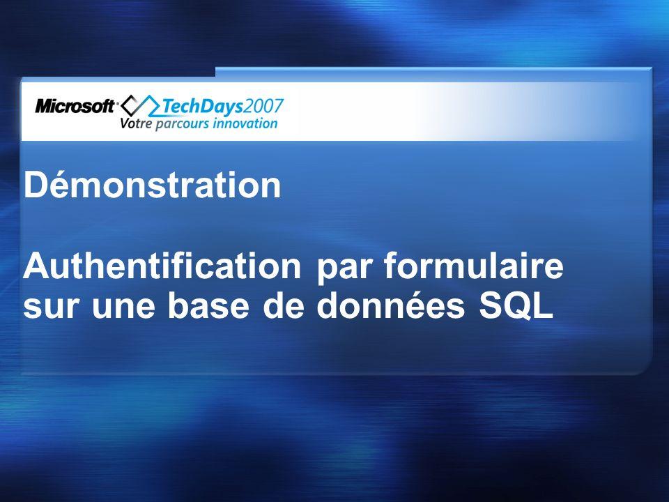 Démonstration Authentification par formulaire sur une base de données SQL