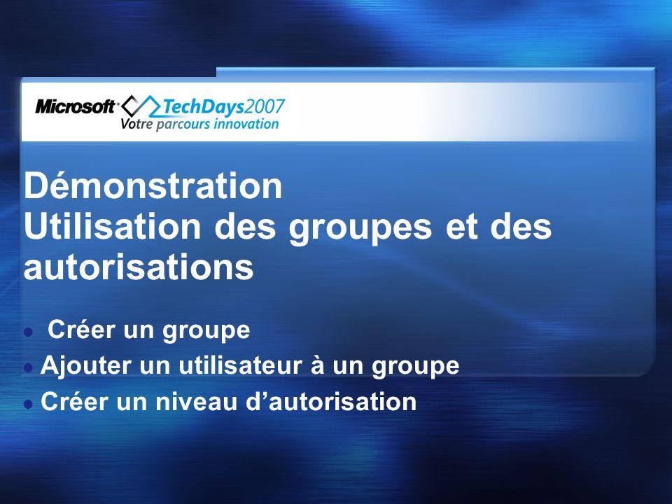 Démonstration Utilisation des groupes et des autorisations Créer un groupe Ajouter un utilisateur à un groupe Créer un niveau dautorisation