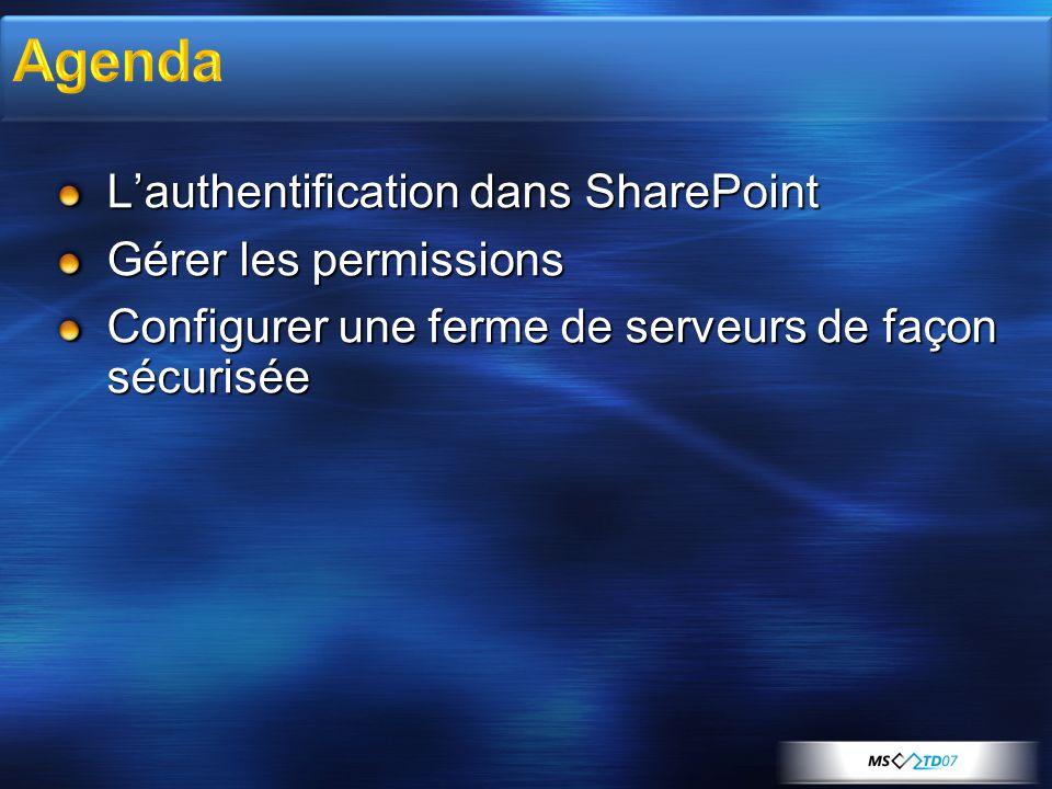Lauthentification dans SharePoint Gérer les permissions Configurer une ferme de serveurs de façon sécurisée