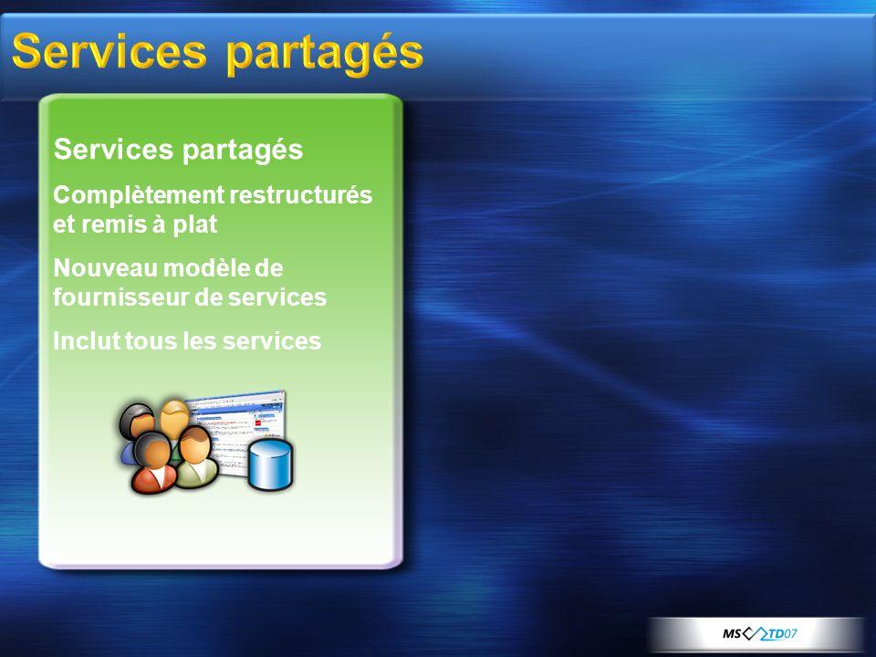 Services partagés Complètement restructurés et remis à plat Nouveau modèle de fournisseur de services Inclut tous les services
