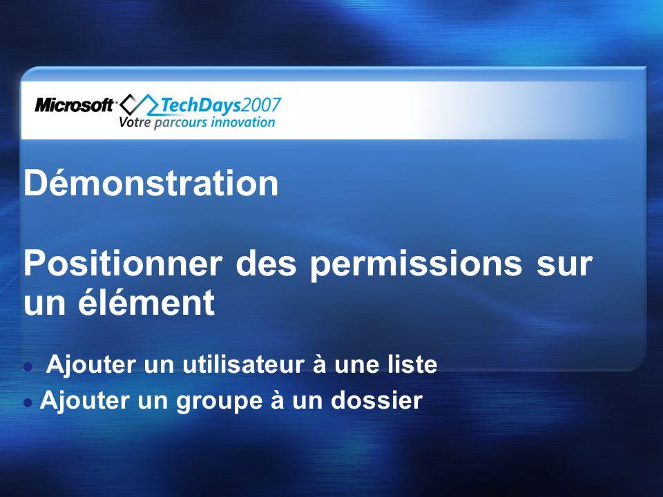 Démonstration Positionner des permissions sur un élément Ajouter un utilisateur à une liste Ajouter un groupe à un dossier