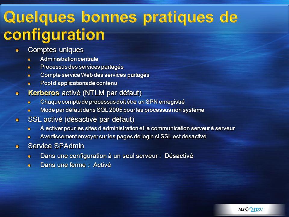 Comptes uniques Administration centrale Processus des services partagés Compte service Web des services partagés Pool dapplications de contenu Kerbero