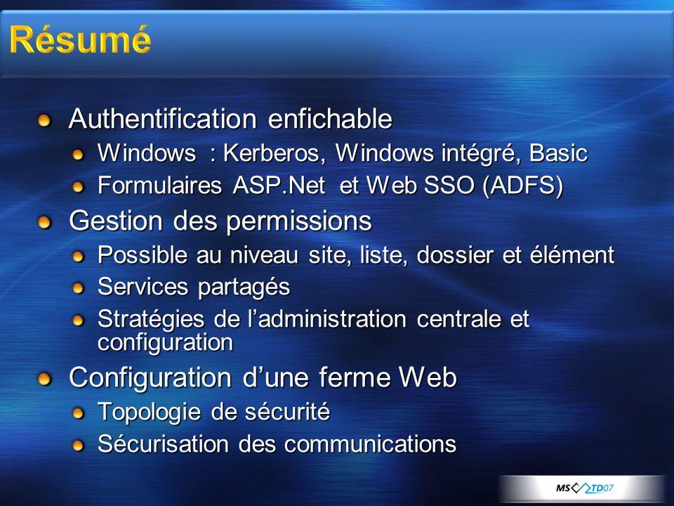 Authentification enfichable Windows : Kerberos, Windows intégré, Basic Formulaires ASP.Net et Web SSO (ADFS) Gestion des permissions Possible au nivea