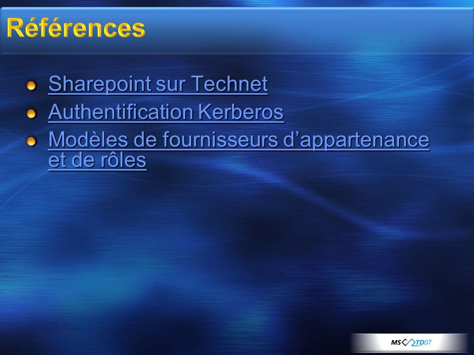 Sharepoint sur Technet Sharepoint sur Technet Authentification Kerberos Authentification Kerberos Modèles de fournisseurs dappartenance et de rôles Mo