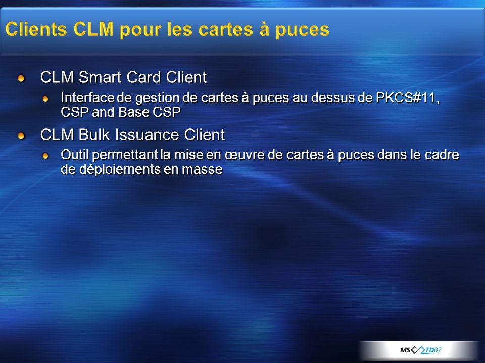 CLM Smart Card Client Interface de gestion de cartes à puces au dessus de PKCS#11, CSP and Base CSP CLM Bulk Issuance Client Outil permettant la mise