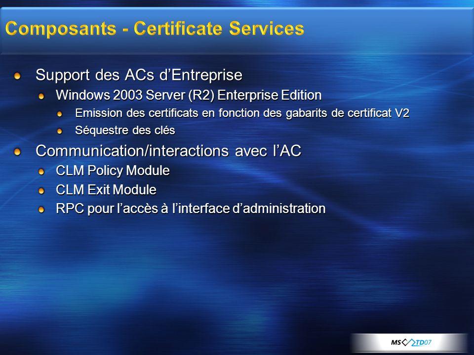 Support des ACs dEntreprise Windows 2003 Server (R2) Enterprise Edition Emission des certificats en fonction des gabarits de certificat V2 Séquestre d