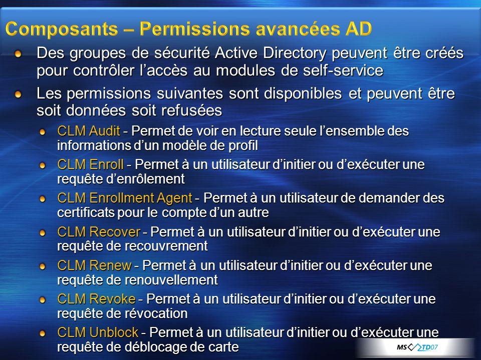 Des groupes de sécurité Active Directory peuvent être créés pour contrôler laccès au modules de self-service Les permissions suivantes sont disponible