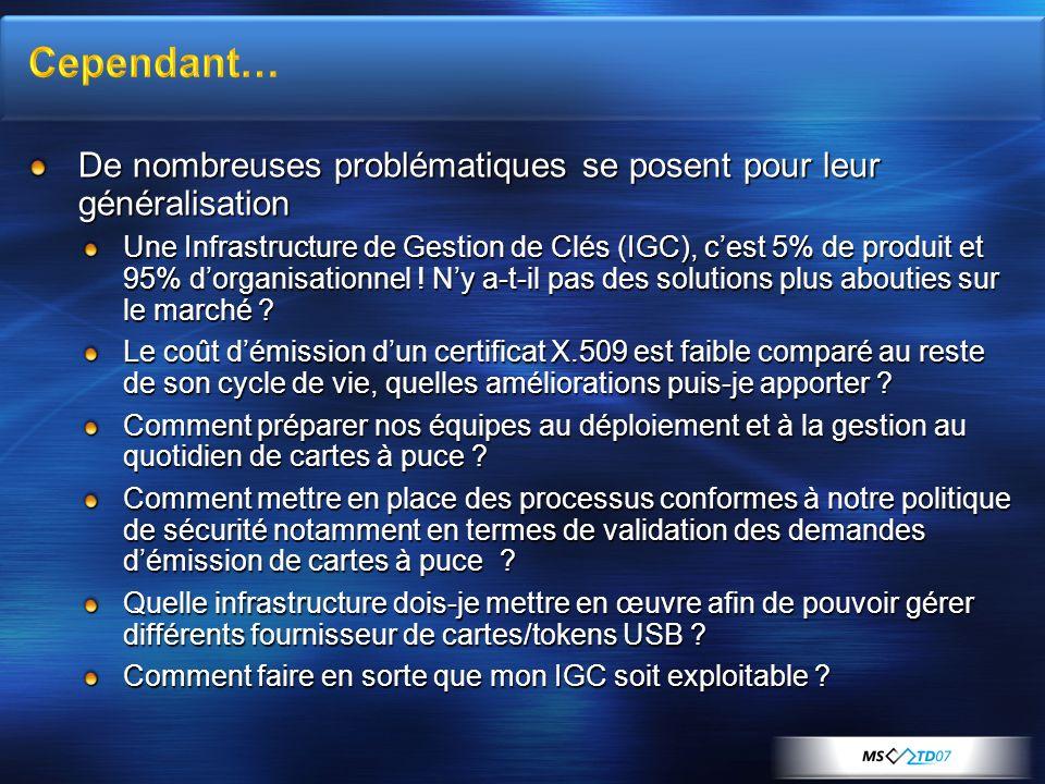 De nombreuses problématiques se posent pour leur généralisation Une Infrastructure de Gestion de Clés (IGC), cest 5% de produit et 95% dorganisationne