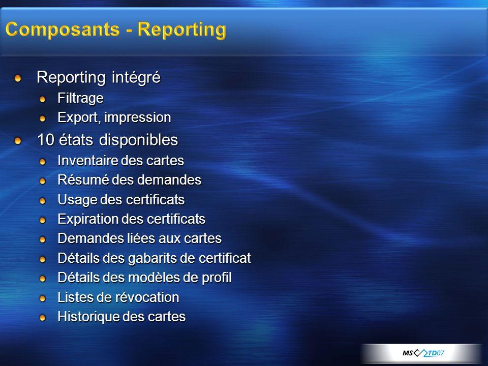 Reporting intégré Filtrage Export, impression 10 états disponibles Inventaire des cartes Résumé des demandes Usage des certificats Expiration des cert