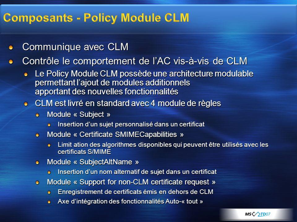 Communique avec CLM Contrôle le comportement de lAC vis-à-vis de CLM Le Policy Module CLM possède une architecture modulable permettant lajout de modu