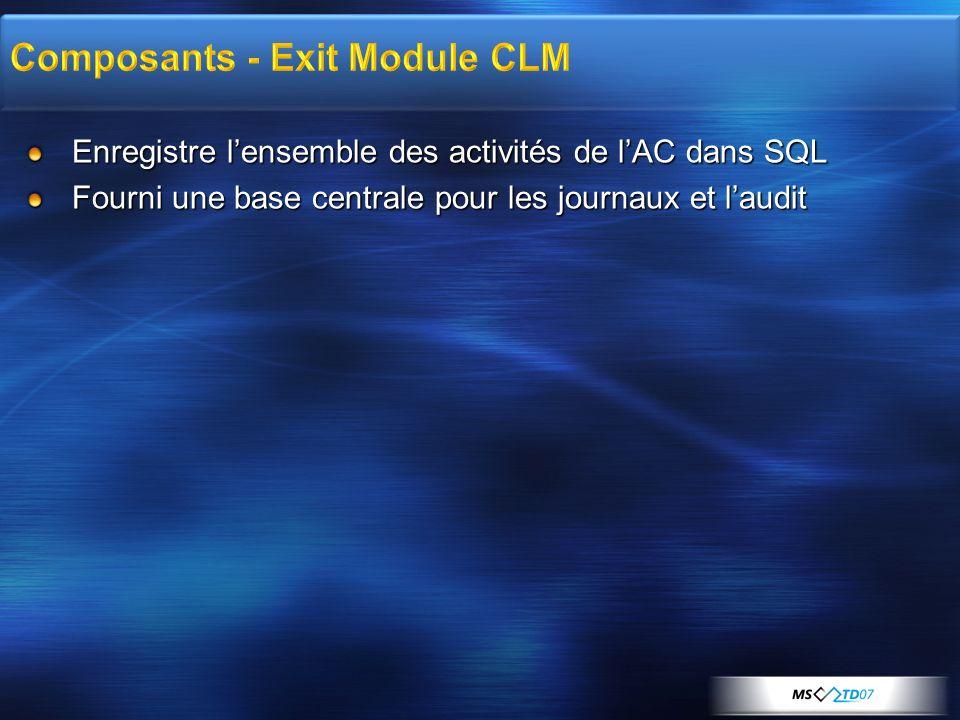 Enregistre lensemble des activités de lAC dans SQL Fourni une base centrale pour les journaux et laudit