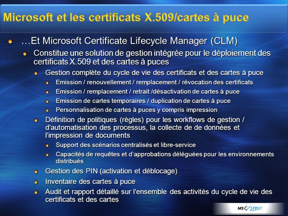 …Et Microsoft Certificate Lifecycle Manager (CLM) Constitue une solution de gestion intégrée pour le déploiement des certificats X.509 et des cartes à