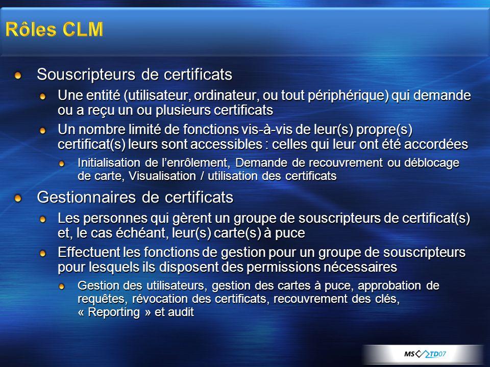 Souscripteurs de certificats Une entité (utilisateur, ordinateur, ou tout périphérique) qui demande ou a reçu un ou plusieurs certificats Un nombre li