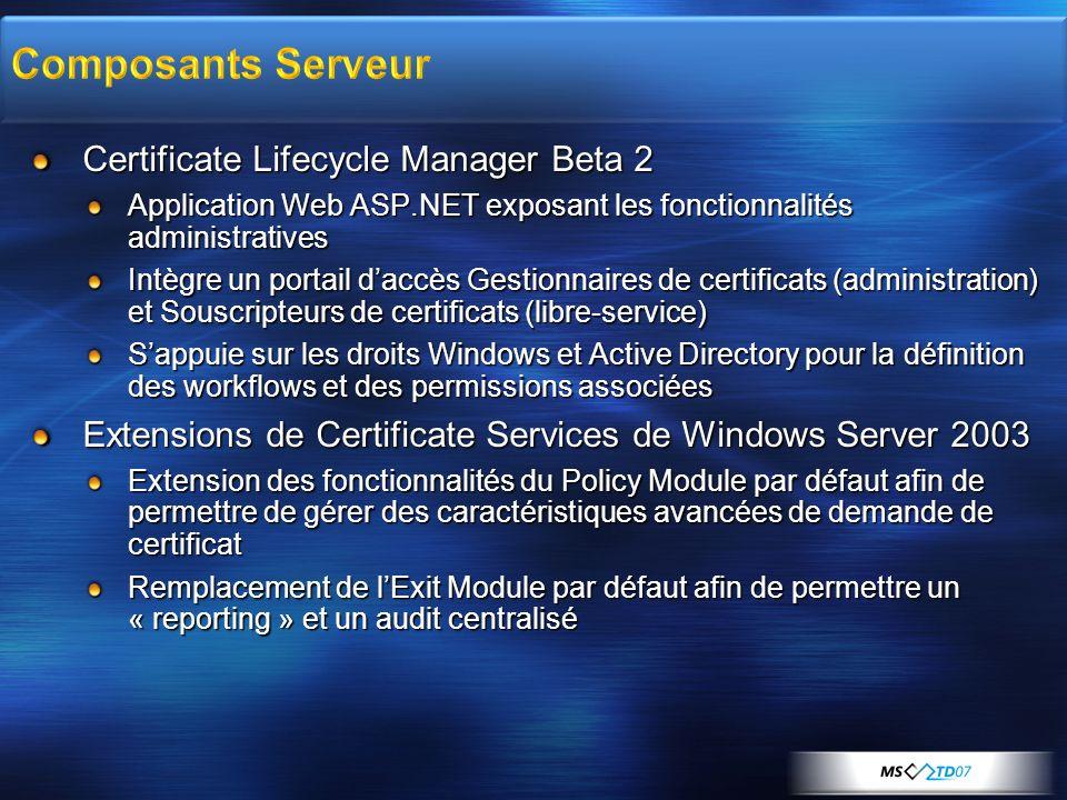 Certificate Lifecycle Manager Beta 2 Application Web ASP.NET exposant les fonctionnalités administratives Intègre un portail daccès Gestionnaires de c