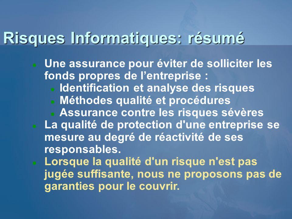 Risques Informatiques: résumé l Lassurance est une nécessité… l Le matériel est couvert pour sa valeur vénale.