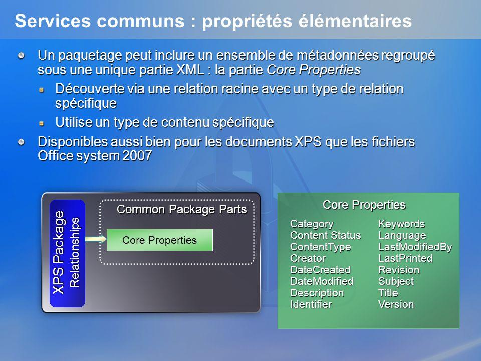 Services communs : propriétés élémentaires Un paquetage peut inclure un ensemble de métadonnées regroupé sous une unique partie XML : la partie Core P