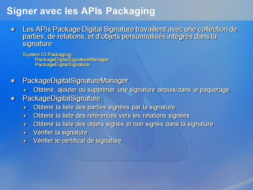 Signer avec les APIs Packaging Les APIs Package Digital Signature travaillent avec une collection de parties, de relations, et dobjets personnalisés i