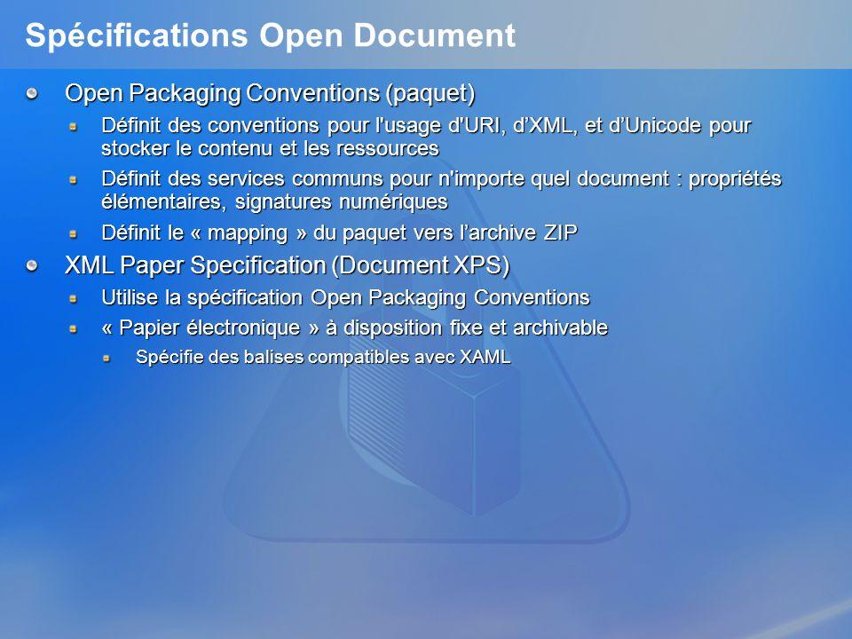 Spécifications Open Document Open Packaging Conventions (paquet) Définit des conventions pour l'usage d'URI, dXML, et dUnicode pour stocker le contenu