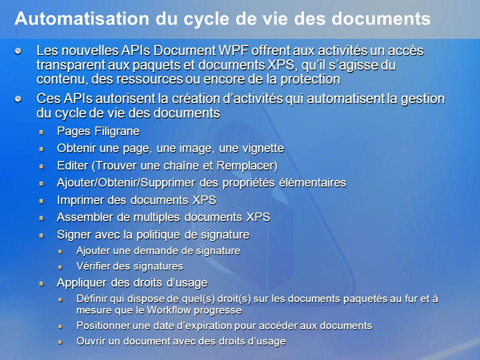Automatisation du cycle de vie des documents Les nouvelles APIs Document WPF offrent aux activités un accès transparent aux paquets et documents XPS,