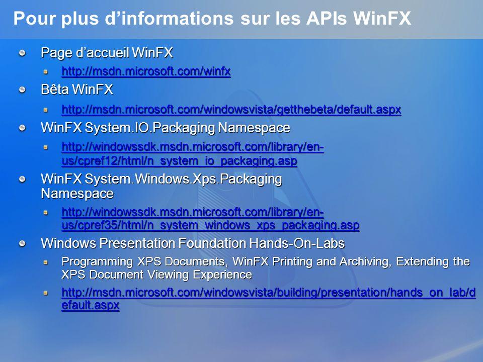 Pour plus dinformations sur les APIs WinFX Page daccueil WinFX http://msdn.microsoft.com/winfx Bêta WinFX http://msdn.microsoft.com/windowsvista/getth