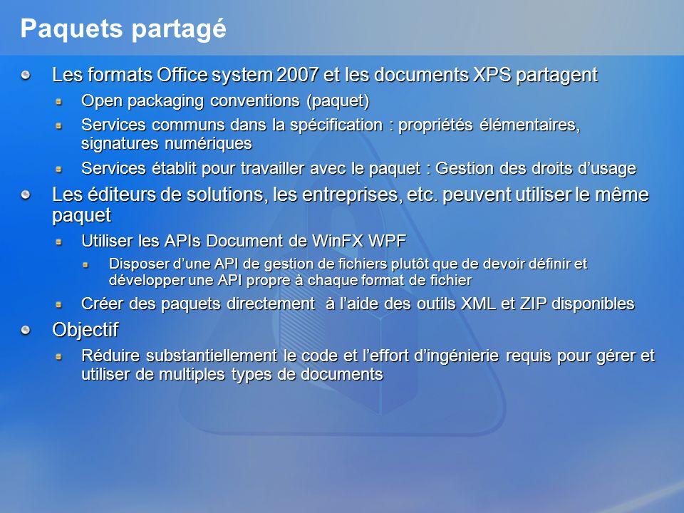 Document XPS Défini sur la base dun paquetage Parties clé dun document XPS FixedDocumentSequence : Racine du document FixedDocument : Balise document XML FixedPage : Balise page XML Font : Police de caractères intégrée Image : Images intégrée Thumbnail : Images vignette de la page PrintTicket : Paramétrage de limprimante pour la page/le document DocumentStructure : Structure sémantique du document StoryFragments : Structure sémantique de la page Relations clé dun document XPS StartPart : Pointe vers la partie FixedDocumentSequence RequiredResource : Image/Police de caractères nécessaire pour « rendre » la page PrintTicket : Paramétrage de limprimante