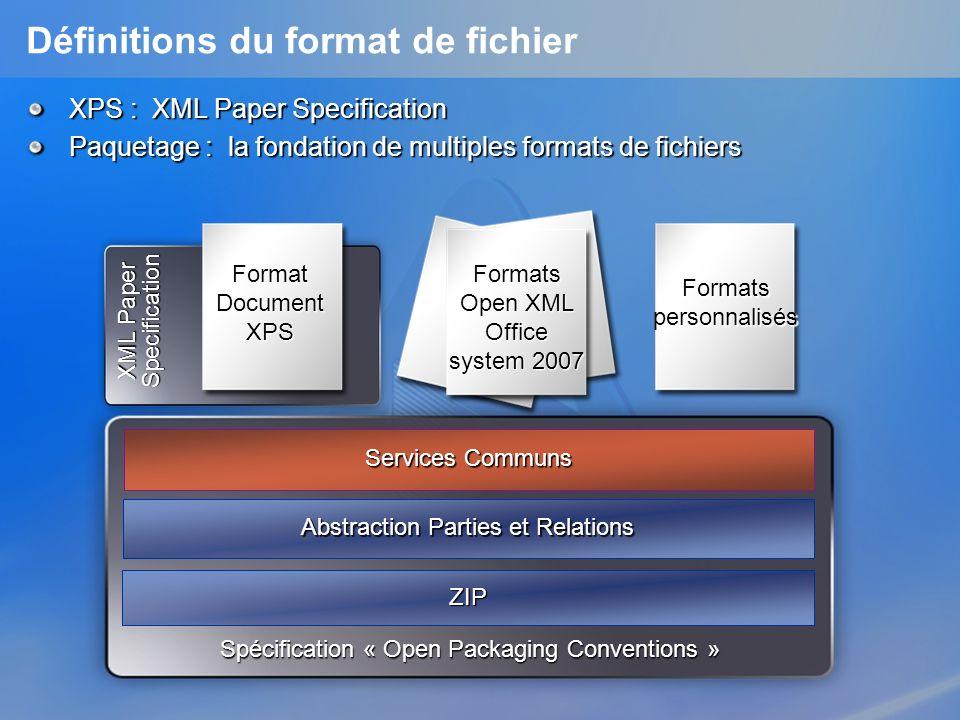 Nouvelles Technologies Document Open Packaging Conventions et XML Paper Specification (XPS) à destination de nimporte quelle application sur nimporte quelle plateforme SpécificationsOuvertes Un utilitaire WPF qui permet aux utilisateurs de visualiser, de protéger et dimprimer des documents XPS.