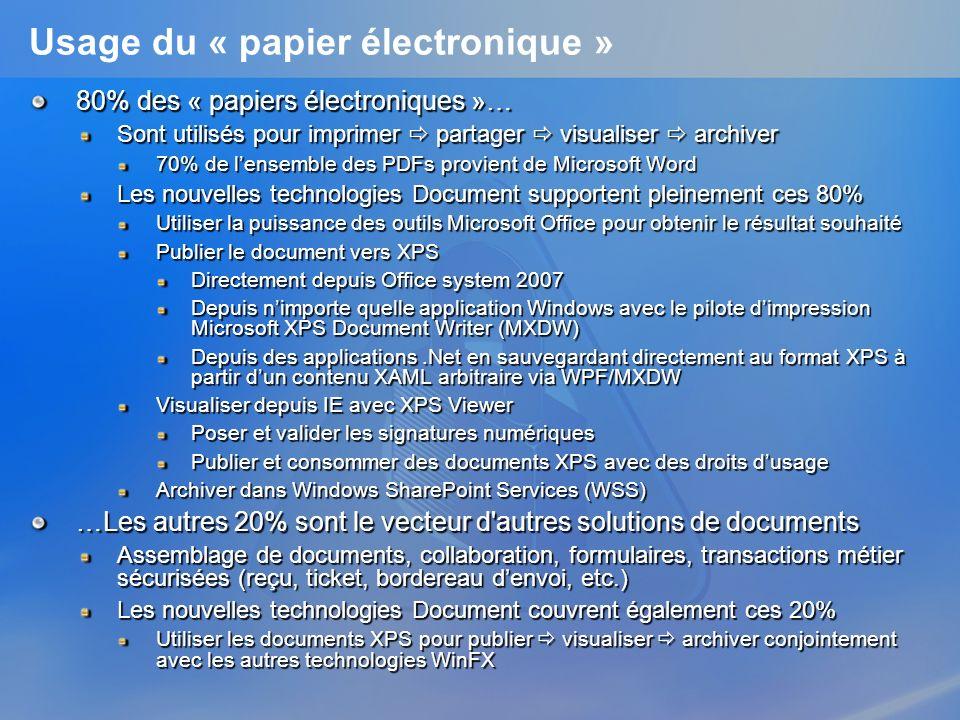 Publier un document XPS avec droits dusage Les APIs Packaging supportent la notion de paquetage chiffré Intégration avec linfrastructure Windows Right Management Services (RMS) fournie avec WinFX LAPI « enveloppe » lAPI RMS v1.0 SP1 en code natif Exemple de code using System; using System.Windows.Xps.Packaging; using System.Xml; using System.Security.RightsManagement; using System.Security … // Build Unsigned publish license UnsignedPublishLicense publishLicense new UnsignedPublishLicense(); unsignedPublishLicense.Grants.Add(new ContentGrant(new ContentUser( someone@microsoft.com , AuthenticationType.Windows), ContentRight.Owner)); ContentUser author = new ContentUser( philber@microsoft.com , AuthenticationType.Windows); unsignedPublishLicense.Owner = author; unsignedPublishLicense.ValidFrom = new DateTime(…); unsignedPublishLicense.ValidUntil = new DateTime(…); … System.Securitry.RightsManagement / UnsignedPublishLicense Systems.IO.Packaging / EncryptedPackage