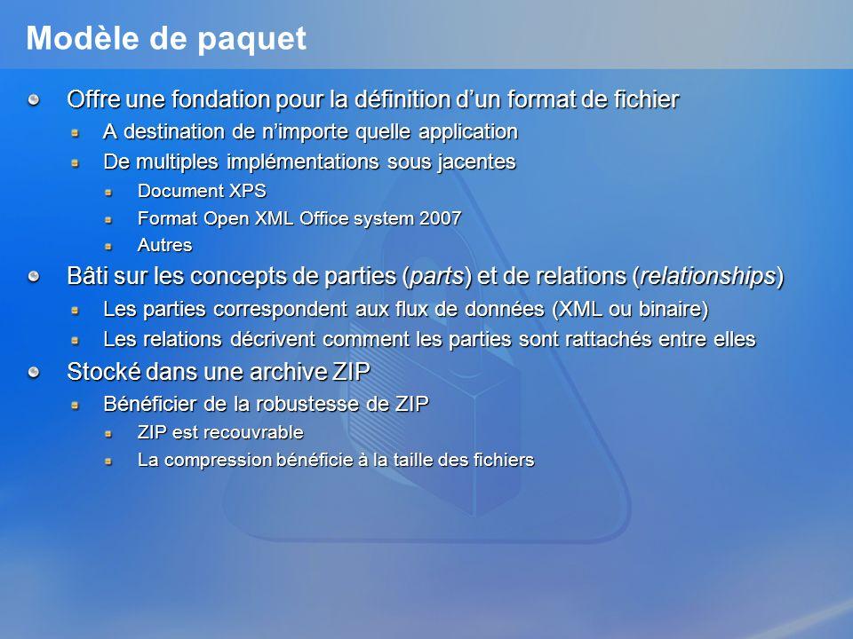Modèle de paquet Offre une fondation pour la définition dun format de fichier A destination de nimporte quelle application De multiples implémentation