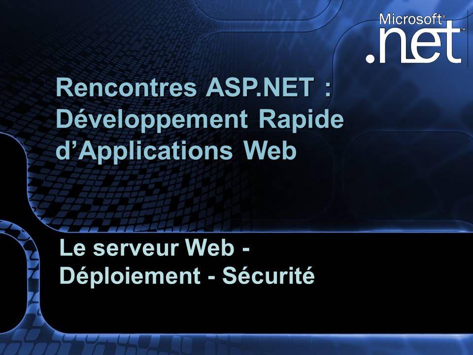 Agenda détaillé Rappels IIS 5 versus IIS 6.0 IIS 6.0 : Internet Information Services Sécurité Recyclage Fiabilité Administrabilité WMI, ADSI, … Déploiement dapplication ASP.NET Ressources et outils Questions / Réponses