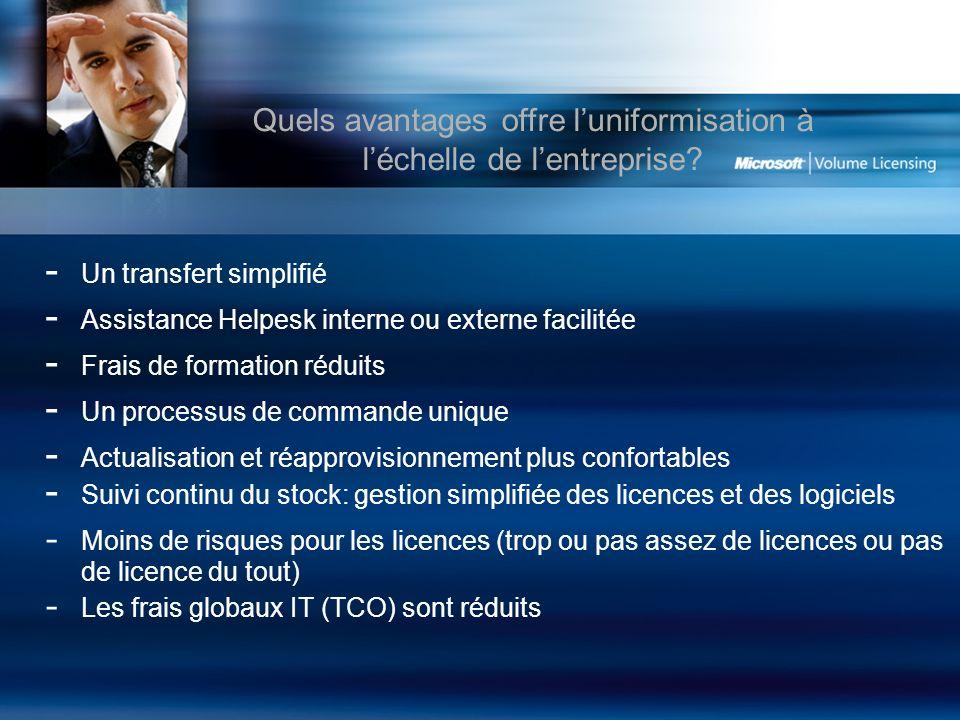 - Un transfert simplifié - Assistance Helpesk interne ou externe facilitée - Frais de formation réduits - Un processus de commande unique - Actualisation et réapprovisionnement plus confortables - Suivi continu du stock: gestion simplifiée des licences et des logiciels - Moins de risques pour les licences (trop ou pas assez de licences ou pas de licence du tout) - Les frais globaux IT (TCO) sont réduits Quels avantages offre luniformisation à léchelle de lentreprise?