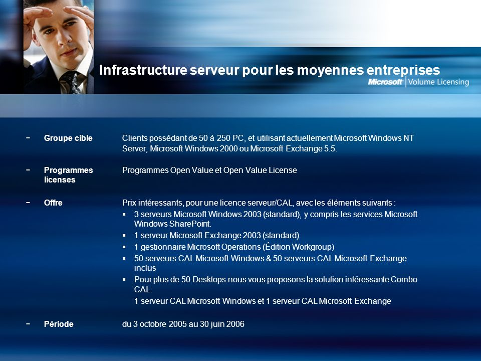 Infrastructure serveur pour les moyennes entreprises - Groupe cible Clients possédant de 50 à 250 PC, et utilisant actuellement Microsoft Windows NT Server, Microsoft Windows 2000 ou Microsoft Exchange 5.5.