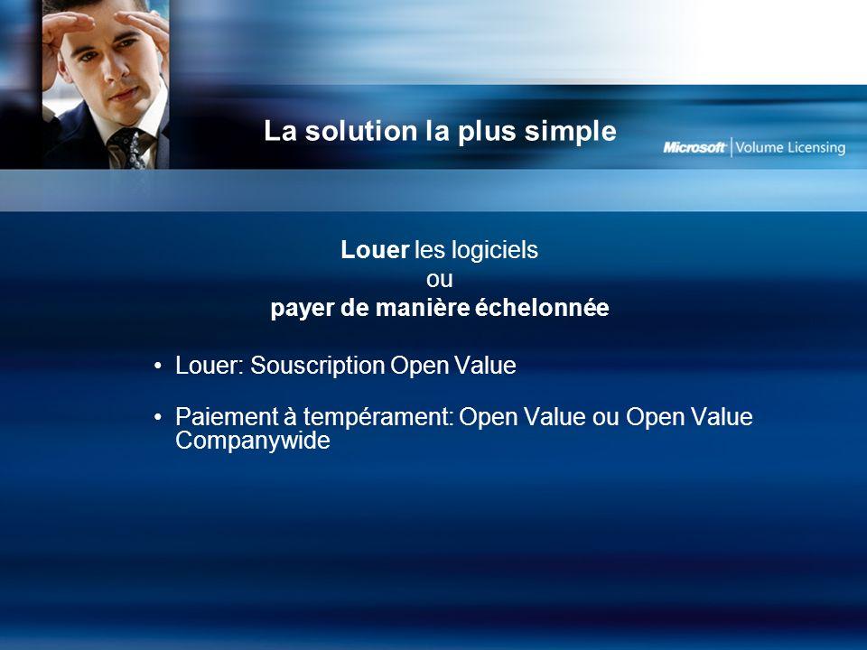 La solution la plus simple Louer les logiciels ou payer de manière échelonnée Louer: Souscription Open Value Paiement à tempérament: Open Value ou Open Value Companywide