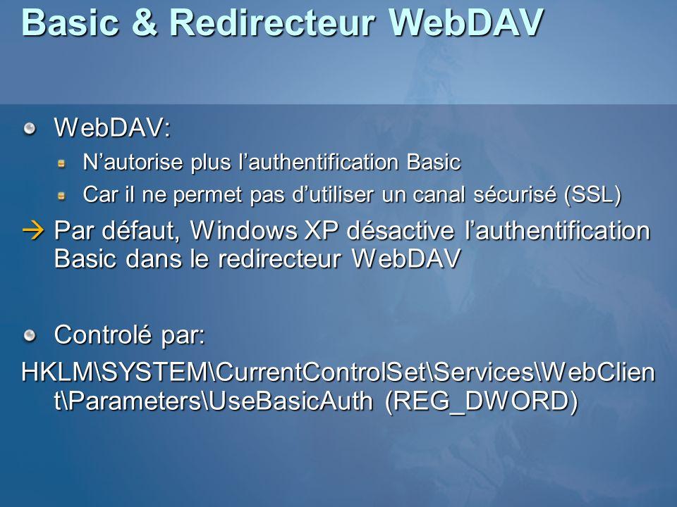 Basic & Redirecteur WebDAV WebDAV: Nautorise plus lauthentification Basic Car il ne permet pas dutiliser un canal sécurisé (SSL) Par défaut, Windows XP désactive lauthentification Basic dans le redirecteur WebDAV Par défaut, Windows XP désactive lauthentification Basic dans le redirecteur WebDAV Controlé par: HKLM\SYSTEM\CurrentControlSet\Services\WebClien t\Parameters\UseBasicAuth (REG_DWORD)