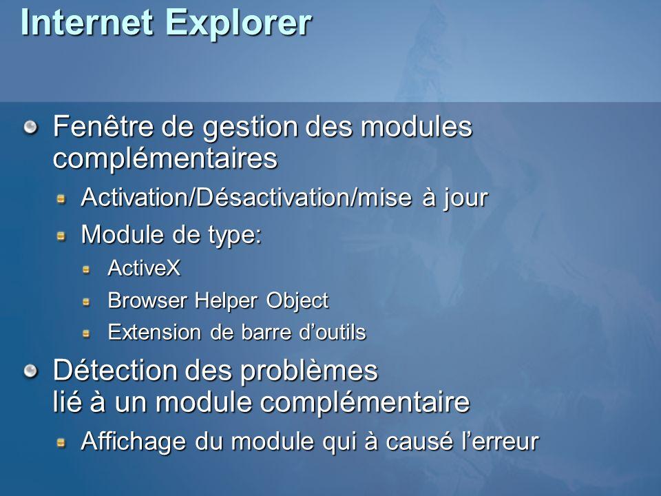 Internet Explorer Fenêtre de gestion des modules complémentaires Activation/Désactivation/mise à jour Module de type: ActiveX Browser Helper Object Extension de barre doutils Détection des problèmes lié à un module complémentaire Affichage du module qui à causé lerreur