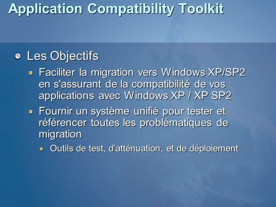 Application Compatibility Toolkit Les Objectifs Faciliter la migration vers Windows XP/SP2 en s assurant de la compatibilité de vos applications avec Windows XP / XP SP2 Fournir un système unifié pour tester et référencer toutes les problématiques de migration Outils de test, datténuation, et de déploiement