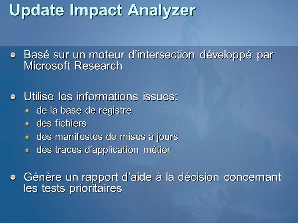Update Impact Analyzer Basé sur un moteur dintersection développé par Microsoft Research Utilise les informations issues: de la base de registre des fichiers des manifestes de mises à jours des traces dapplication métier Génère un rapport daide à la décision concernant les tests prioritaires