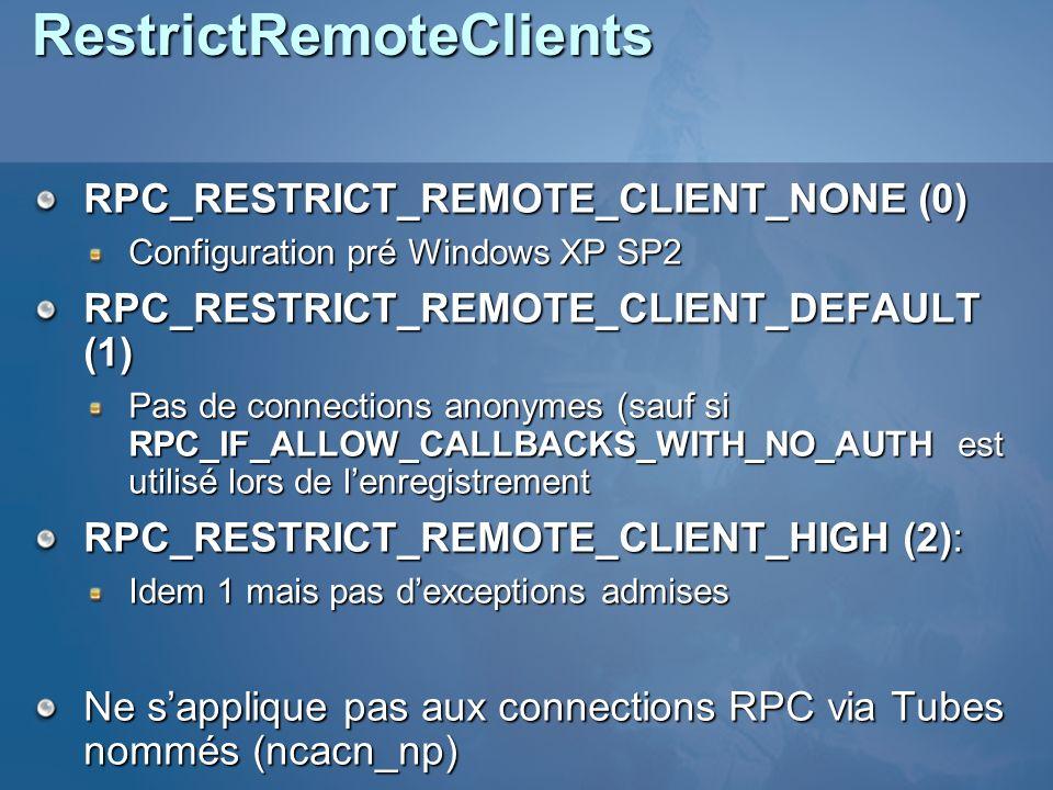 RestrictRemoteClients RPC_RESTRICT_REMOTE_CLIENT_NONE (0) Configuration pré Windows XP SP2 RPC_RESTRICT_REMOTE_CLIENT_DEFAULT (1) Pas de connections anonymes (sauf si RPC_IF_ALLOW_CALLBACKS_WITH_NO_AUTH est utilisé lors de lenregistrement RPC_RESTRICT_REMOTE_CLIENT_HIGH (2): Idem 1 mais pas dexceptions admises Ne sapplique pas aux connections RPC via Tubes nommés (ncacn_np)