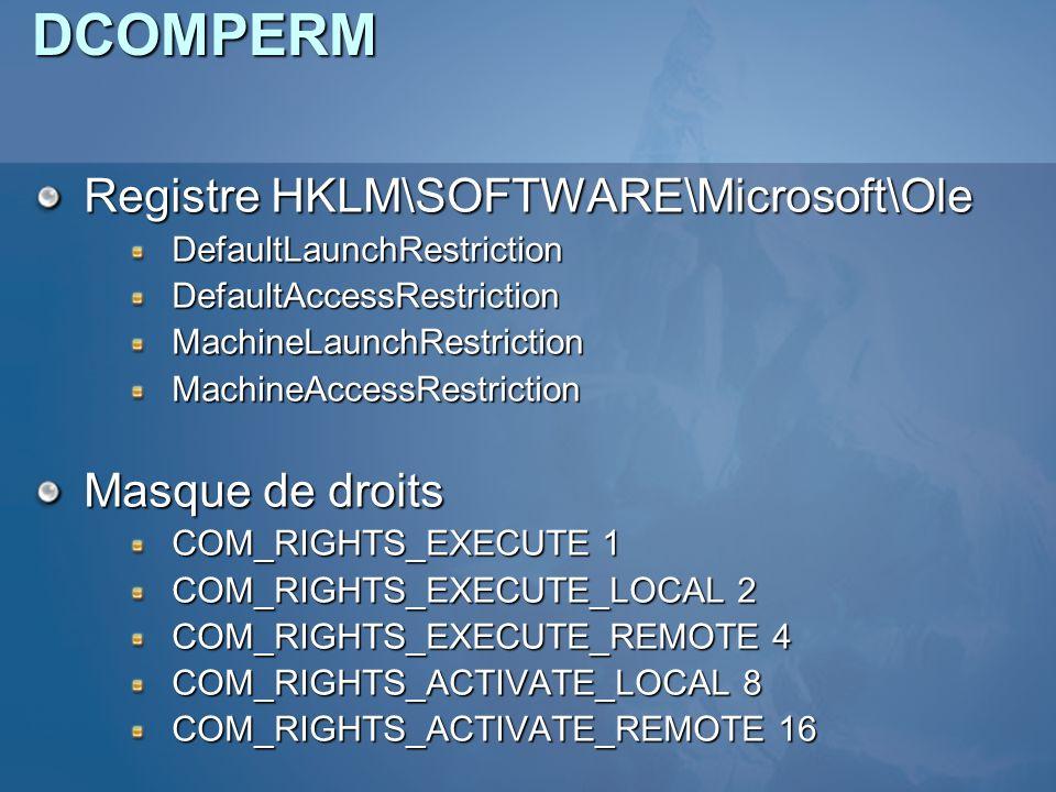DCOMPERM Registre HKLM\SOFTWARE\Microsoft\Ole DefaultLaunchRestrictionDefaultAccessRestrictionMachineLaunchRestrictionMachineAccessRestriction Masque de droits COM_RIGHTS_EXECUTE 1 COM_RIGHTS_EXECUTE_LOCAL 2 COM_RIGHTS_EXECUTE_REMOTE 4 COM_RIGHTS_ACTIVATE_LOCAL 8 COM_RIGHTS_ACTIVATE_REMOTE 16