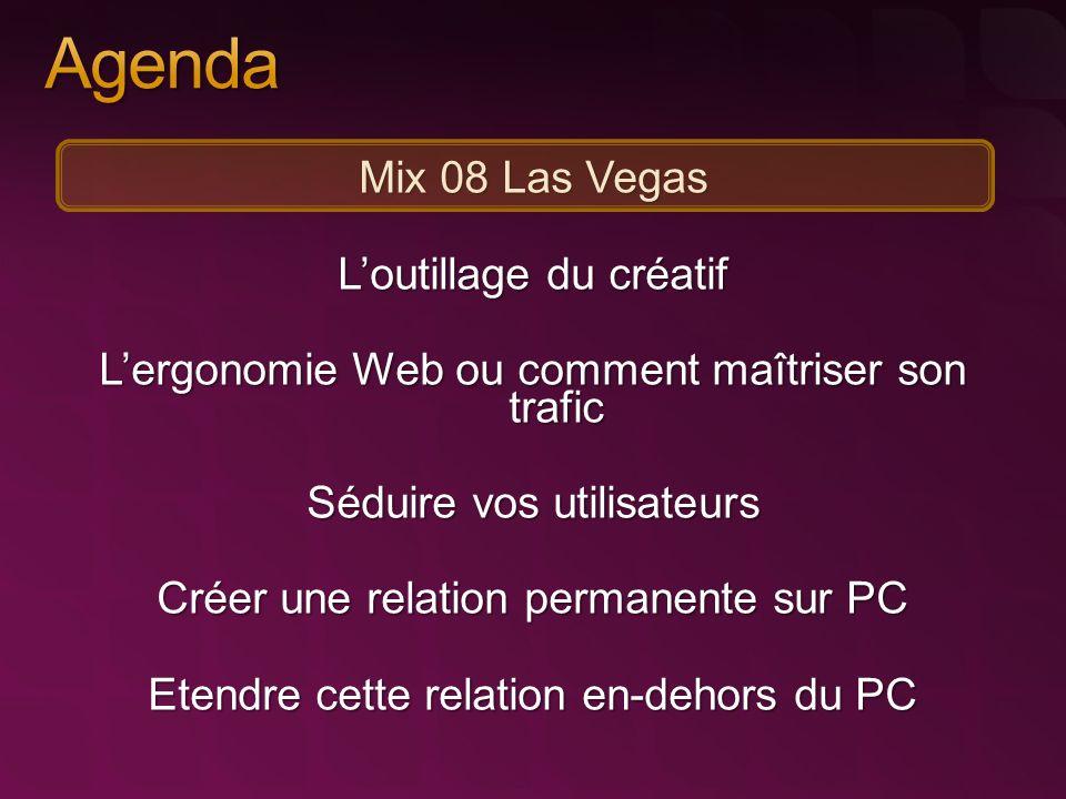 Mix 08 Las Vegas Loutillage du créatif Lergonomie Web ou comment maîtriser son trafic Séduire vos utilisateurs Créer une relation permanente sur PC Etendre cette relation en-dehors du PC