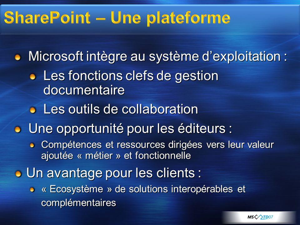 Microsoft intègre au système dexploitation : Les fonctions clefs de gestion documentaire Les outils de collaboration Une opportunité pour les éditeurs
