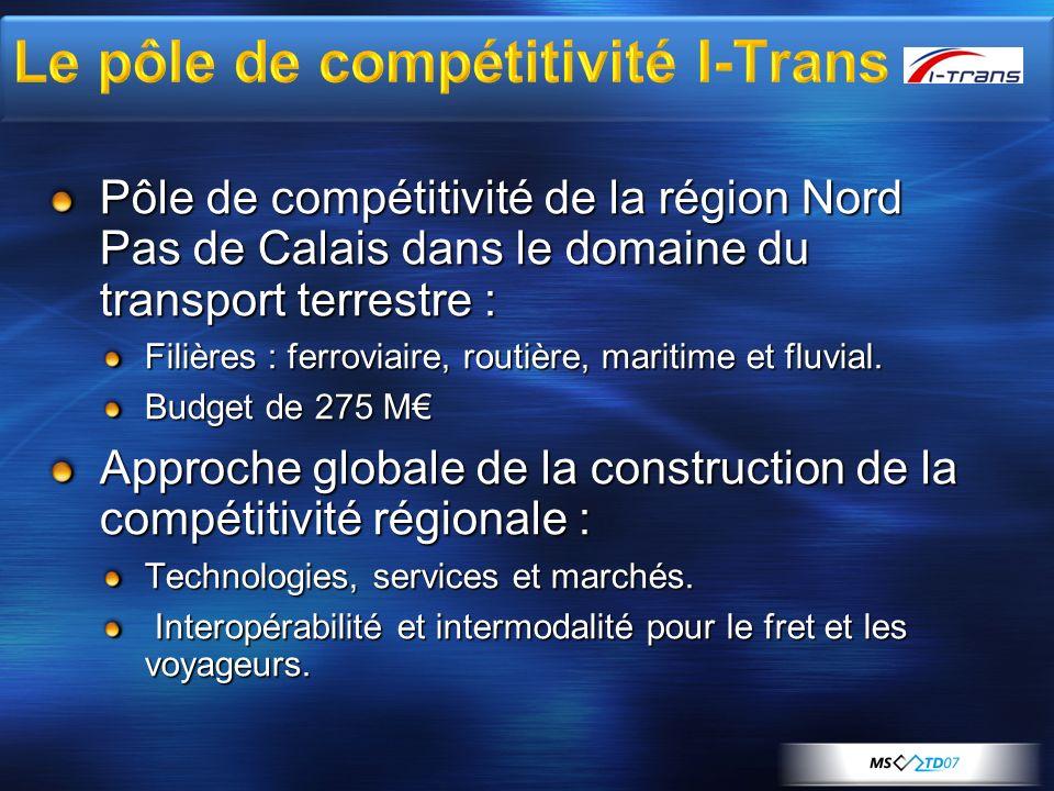 Pôle de compétitivité de la région Nord Pas de Calais dans le domaine du transport terrestre : Filières : ferroviaire, routière, maritime et fluvial.
