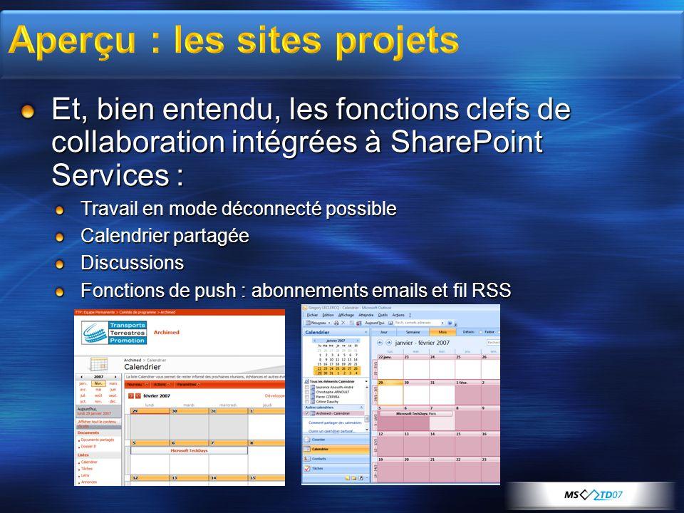 Et, bien entendu, les fonctions clefs de collaboration intégrées à SharePoint Services : Travail en mode déconnecté possible Calendrier partagée Discu
