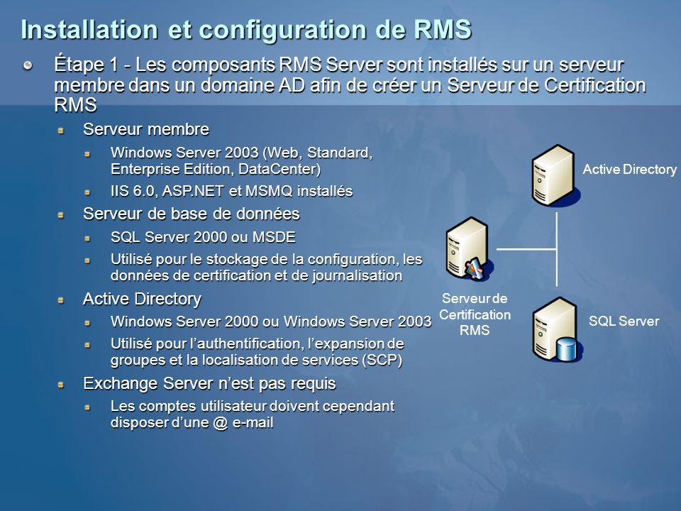 Installation et configuration de RMS Étape 1 - Les composants RMS Server sont installés sur un serveur membre dans un domaine AD afin de créer un Serv